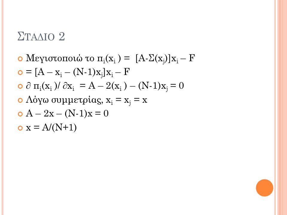 Σταδιο 2 Μεγιστοποιώ το πi(xi ) = [Α-Σ(xj)]xi – F